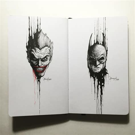 batman tattoo sketch the joker x batman drippingportraits by kerbyrosanes