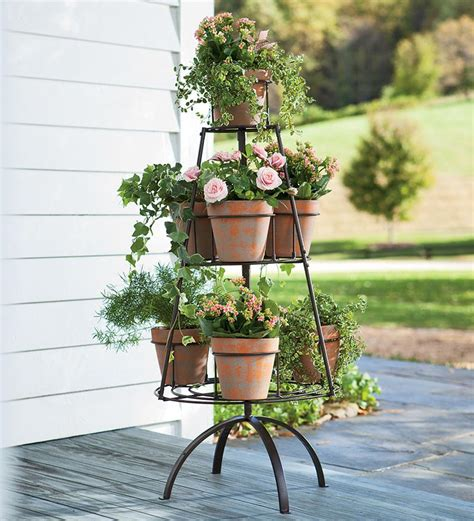 design of flower pot stand metal tree shaped plant stand with terra cotta pots i
