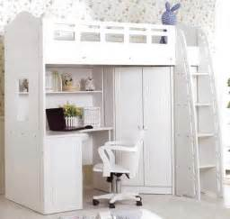 Cool white loft bed with desk chair and ladder small medium full