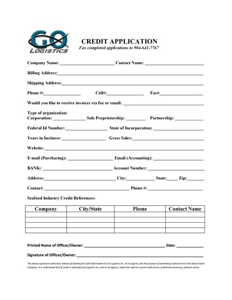 Credit Application Form For Logistics Shipping Forms
