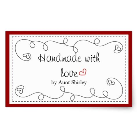 Handmade By Labels Personalised - personalized handmade with labels rectangular sticker