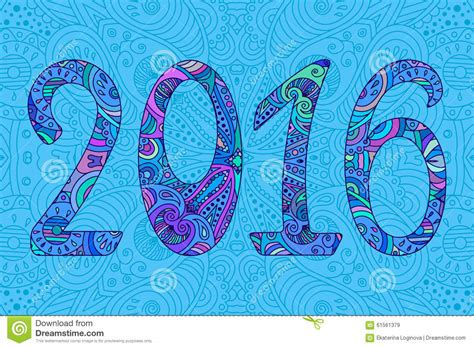 new year ornament vector free decorative blue new year numbers 2016 with ornament stock