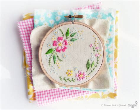 embroidery design by hand embroidery kit diy kit hand embroidery circle of flowers