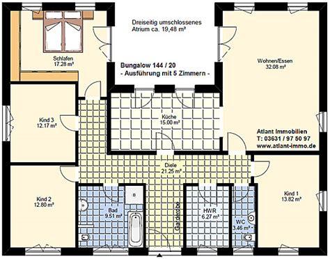 5 zimmer bungalow grundriss atrium bungalow pultdach 144 20 einfamilienhaus neubau