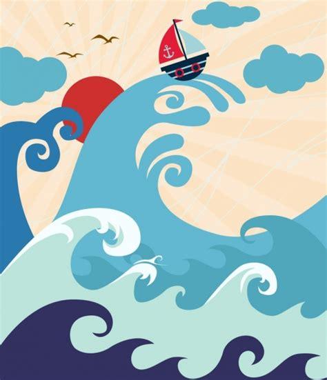 dibujo barco con olas que dibujo grande las olas del mar barco decoraci 243 n iconos