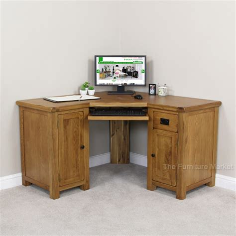 Corner Study Desk Rustic Oak Corner Desk Office Study Large Computer Table Furniture Rs46 Ebay