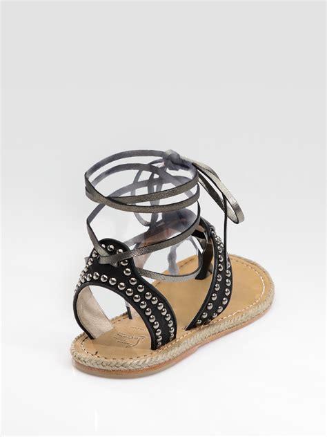 black flat gladiator sandals christian louboutin flat gladiator sandals in black lyst