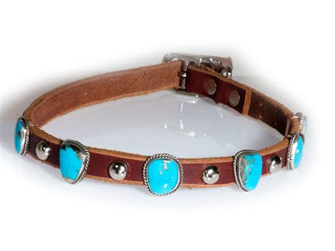 turquoise collar turquoise 5 leather collar handmade by artist daniel martinez