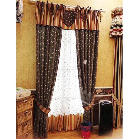 country style valances retro navy blue striped country style curtains
