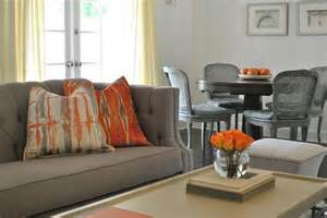 orange and gray living room gray and orange living room features a gray tufted high