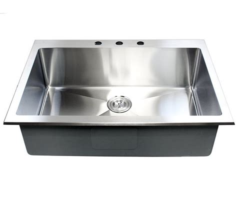 Top Mount Sinks Kitchen 33 Inch Top Mount Drop In Stainless Steel Single Bowl