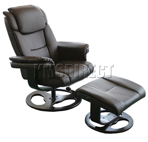 leather swivel recliner armchair chair and footstool luxury houston brown faux leather swivel office recliner