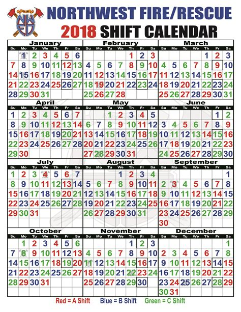 printable kelly schedule shift schedules northwest fire district