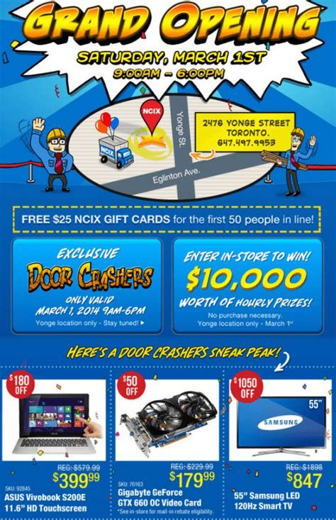 Ncix Gift Card - ncix yonge st s grand opening canada free 25 for first 50 people door crasher