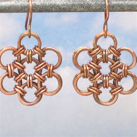 Japanese Handmade Jewelry - oxidized copper japanese flower chain maille earrings