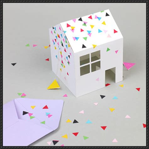 Pop Up Paper Crafts - pop up house invitation free papercraft template