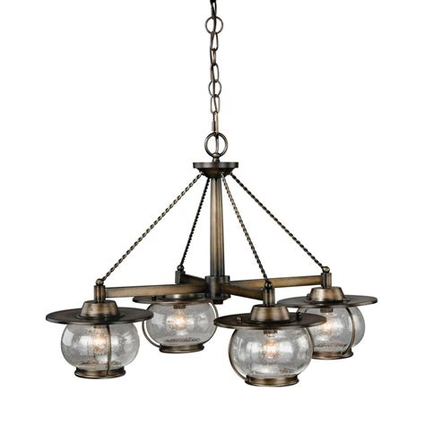 Seeded Glass Chandelier Shop Cascadia Lighting Jamestown 27 5 In 4 Light Parisian Bronze Farmhouse Seeded Glass Shaded