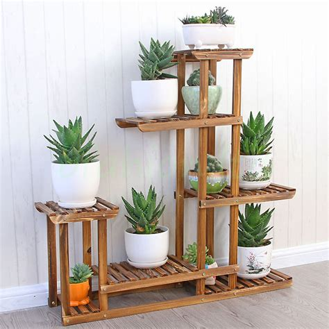 wooden plant flower pot display stand wood shelf storage