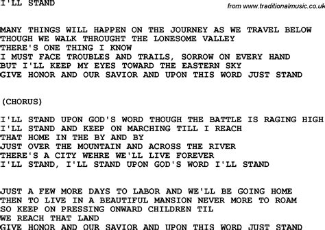 country music lyrics i will stand by you country southern and bluegrass gospel song i ll stand lyrics