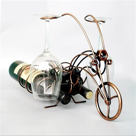 metal motorcycle chagne wine bottle holder and goblet