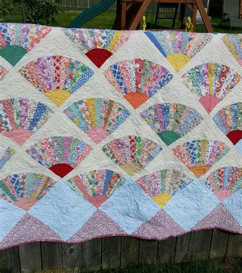 Top Quilt by Fan Quilt King Size Vintage Top