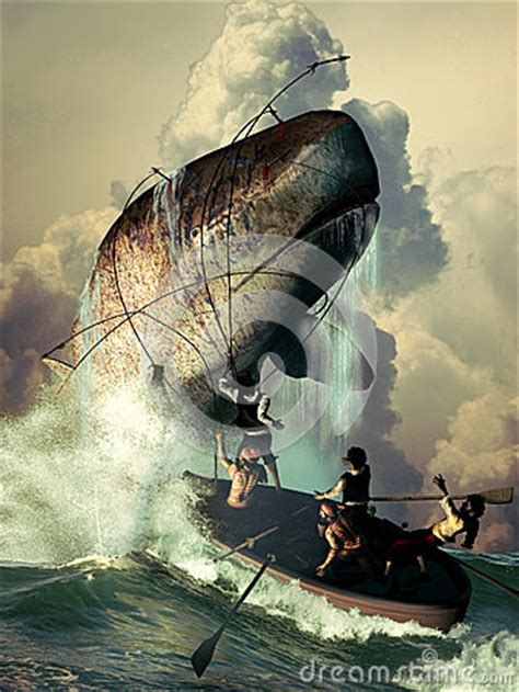 sperm whale attack stock illustration image