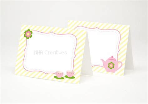 Tea Party Themed Place Cards Teapot And Teacups Diy Tea Place Cards Template