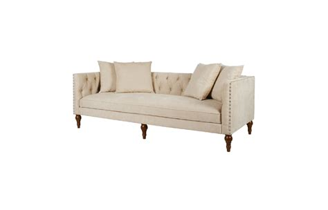 Chenille Chesterfield Sofa Chenille Fabric Wooden Chesterfield Sofa Beige Comfychest151 Comfyland