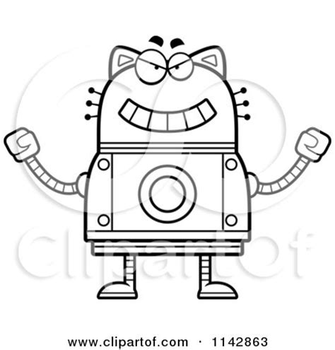 robot cat coloring page cartoon clipart of a black and white waving robot cat