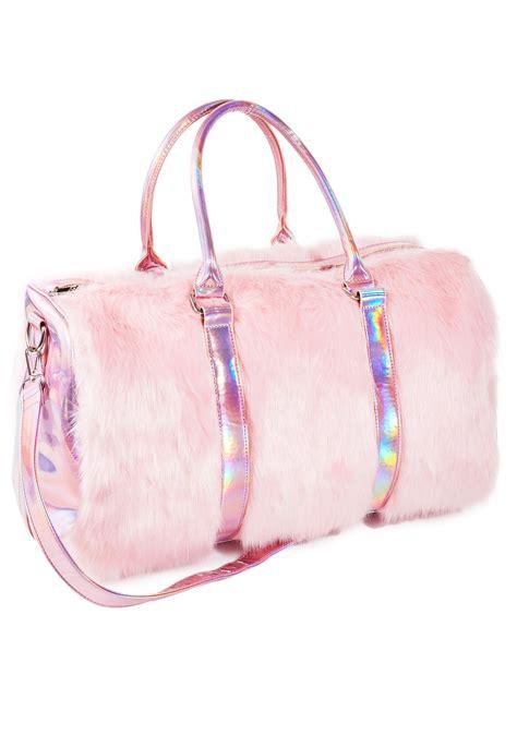 Bag For Pink pink faux fur weekender bag dolls kill