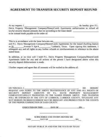 Security Deposit Refund Form Sles 8 Free Documents In Word Pdf Deposit Agreement Template