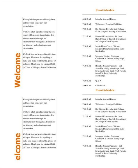 conference program templates event program template 37 free sle exle format