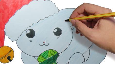 dibujos de navidad paso a paso como dibujar un gatito de navidad kawaii facil dibujos de navidad paso a paso para ni 241 os