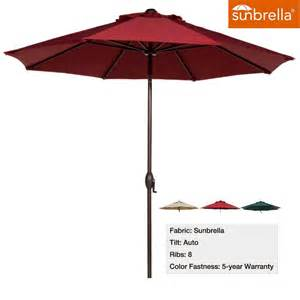 Patio Umbrella Fabric Abba Patio 9 Ft Fade Resistant Sunbrella Fabric Patio Umbrella With Auto Tilt And Crank Alu 8
