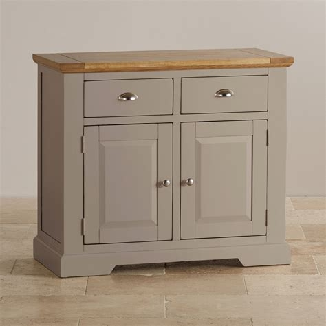 Painted Small Sideboard oak and light grey painted small sideboard