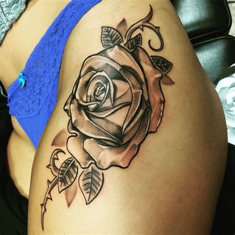 rose tattoos down side body new side thigh thighs