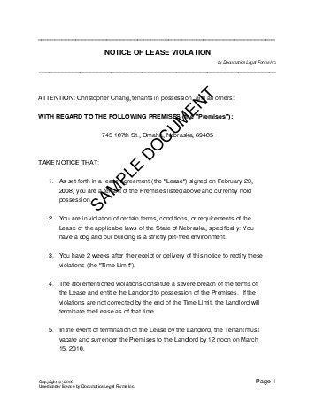 Breach Of Lease Letter Template notice of lease usa templates