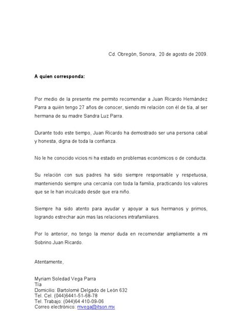 Carta De Trabajo Familiar by Carta Recomendacion Familiar