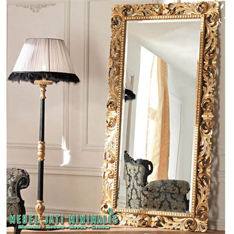 Cermin Hiasan cermin dinding besar ukiran mewah ruang tamu mebel jati