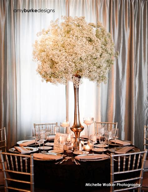 tall baby s breath centerpiece wedding reception