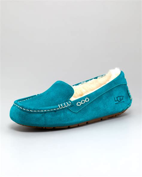 ugg moccasin slippers sale ugg ansley shearling moccasin slipper in blue emerald lyst