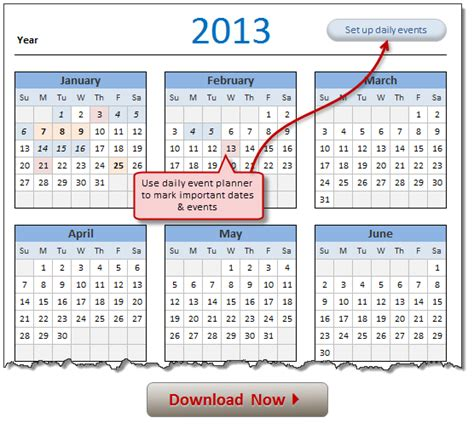 2013 printable one page excel yearly calendar template