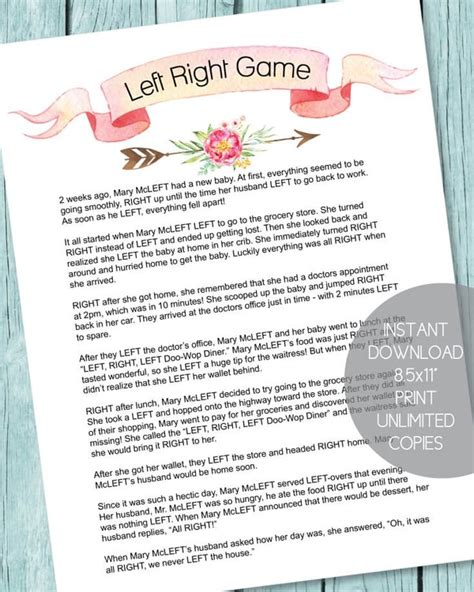 The Left Right Baby Shower by Printable Baby Shower Supplies Print It Baby