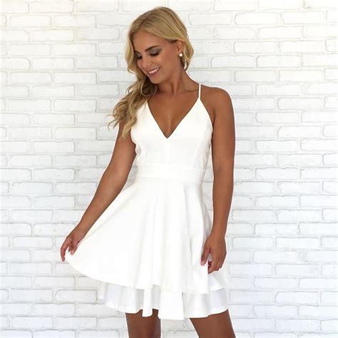 Spaghetti Dress White spaghetti straps v neck white homecoming dress