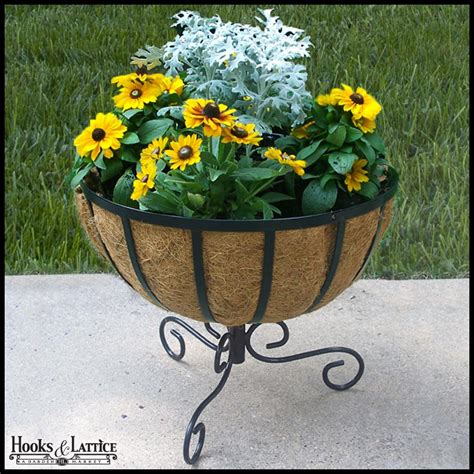 Standing Planters For Patios by Standing Basket Planter Patio Plant Stands Hooks And Lattice