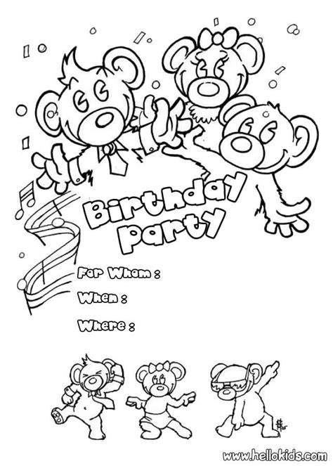 invitation card coloring page coloring pages birthday cards coloring home