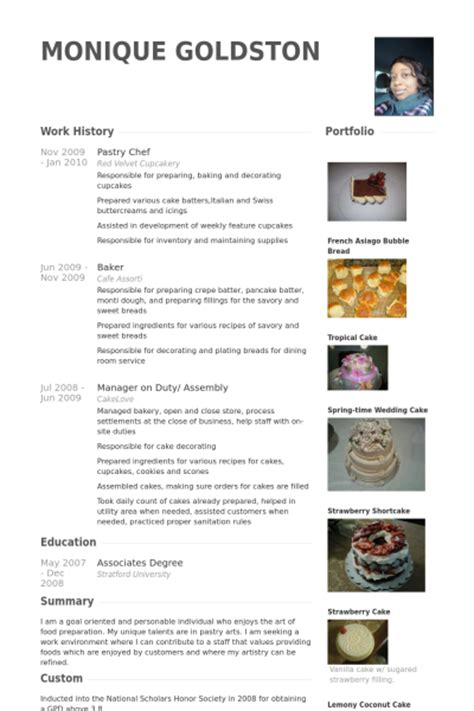 Chef Portfolio Template Free Pastry Chef Resume Sles Visualcv Resume Sles Database