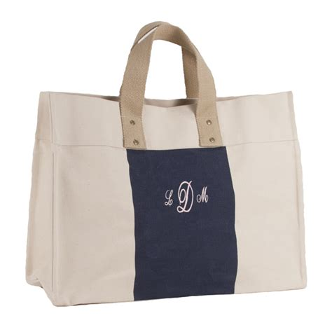 Embroidered Tote Bag monogram canvas city tote bag embroidered