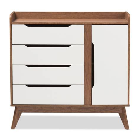 mid century shoe cabinet baxton studio brighton mid century modern white and walnut
