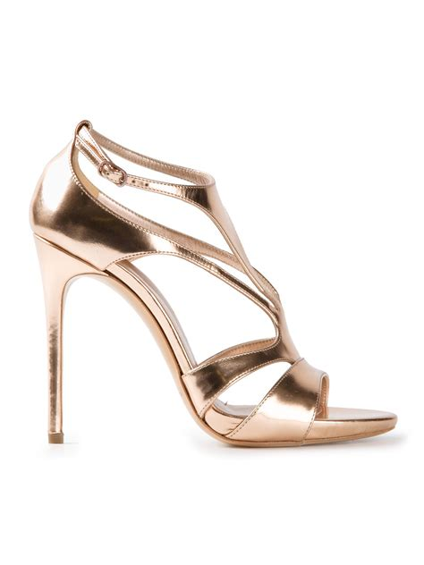 high strappy heels lyst casadei strappy high heel sandals in metallic